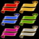 Vectorreeks Veelkleurige Bannerlinten Stock Fotografie