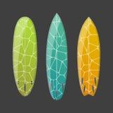 Vectorreeks verfraaide kleurrijke surfplanken royalty-vrije illustratie