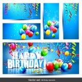 Vectorreeks verjaardagsbanners Stock Foto