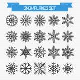 Vectorreeks verschillende abstracte sneeuwvlokken Stock Afbeelding