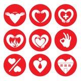 Vectorreeks verschillende hartemblemen Royalty-vrije Stock Foto