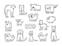 Vectorreeks verschillende hondrassen De grappige karakters van karikatuurdieren De contour isoleerde zwart-witte schets royalty-vrije illustratie