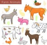 Vectorreeks verschillende kleurrijke landbouwbedrijfdieren Stock Foto's
