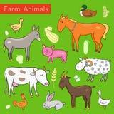 Vectorreeks verschillende kleurrijke landbouwbedrijfdieren Stock Afbeeldingen