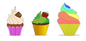 Vectorreeks verschillende leuke cupcakes Royalty-vrije Stock Afbeelding