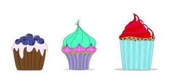 Vectorreeks verschillende leuke cupcakes Royalty-vrije Stock Foto