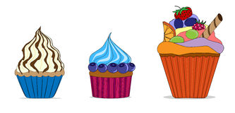 Vectorreeks verschillende leuke cupcakes Royalty-vrije Stock Afbeeldingen