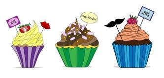 Vectorreeks verschillende leuke cupcakes Stock Foto's