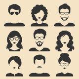 Vectorreeks verschillende mannelijke en vrouwelijke pictogrammen in in vlakke stijl Van mensenhoofden en gezichten beeldeninzamel Royalty-vrije Stock Afbeelding