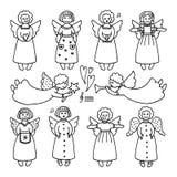 Vectorreeks verschillende pictogrammen van engelen stock illustratie