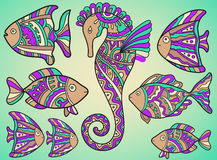 Vectorreeks vissen en seahorse Royalty-vrije Stock Afbeeldingen