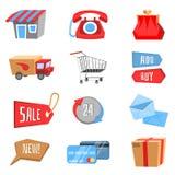 Vectorreeks vlakke en kleurrijke het winkelen pictogrammen Royalty-vrije Stock Fotografie