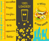 Vectorreeks vlakke heldere gekleurde smakelijke banners met koffie en sandwich Royalty-vrije Stock Afbeelding