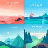 Vectorreeks vlakke illustraties van het de zomerlandschap met woestijn, oceaan, bergen, zon, bos op blauwe betrokken hemel stock illustratie