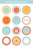 Vectorreeks voor het drukken geschikte cupcaketoppers, etiketten Stock Afbeelding