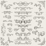 Vectorreeks wervelingselementen voor ontwerp Kalligrafische paginadecoratie, Etiketten, banners, antieke en barokke Kaders Stock Afbeelding
