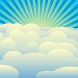 Vectorreeks wolken, blauwe hemel, zonnestralen stock illustratie