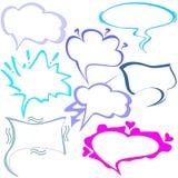 Vectorreeks wolken van gedachten en het spreken voor Strippagina Royalty-vrije Stock Afbeeldingen