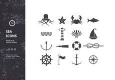 Vectorreeks zeevaartpictogrammen Stock Foto's
