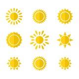Vectorreeks zonpictogrammen Royalty-vrije Stock Afbeelding