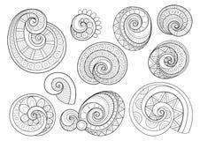 Vectorreeks Zwart-wit Contour Bloemenkrabbels vector illustratie