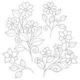 Vectorreeks Zwart-wit Contour Eenvoudige Bloemen, Bloemenontwerpelementen stock illustratie