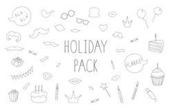 Vectorreeks zwart-witte steunen van de fotocabine, cakes, kaarsen, ballons royalty-vrije illustratie