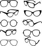 Vectorreeks zwarte illustratie van zonnebrilkaders Royalty-vrije Stock Afbeeldingen