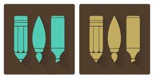 Vectorreeksen van kunsthulpmiddelen, potlood, borstel, en teller Stock Foto's