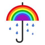 Vectorregenboogparaplu en dalende regen Royalty-vrije Stock Afbeelding