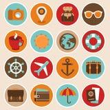 Vectorreis en vakantiepictogrammen Stock Foto