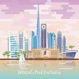 Vectorreisaffiche van Verenigde Arabische Emiraten met spiegeleffect De achtergrond van de V.A.E met moderne gebouwen en moskee i royalty-vrije illustratie