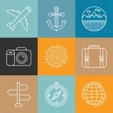 Vectorreisemblemen en pictogrammen in overzichtsstijl Royalty-vrije Stock Foto