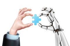 Vectorrobot bedrijfsmensenhanden met raadsel royalty-vrije illustratie