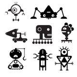 Vectorrobotsilhouetten - Illustratie Stock Afbeeldingen