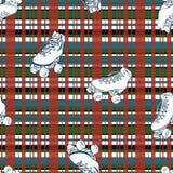 Vectorrolschaatsen op achtergrond van het Kerstmis de geruite naadloze patroon royalty-vrije illustratie