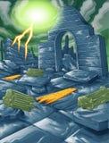 Vectorruïne van de bouw en blikseminslaghemel royalty-vrije illustratie