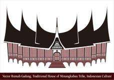 Vectorrumah Gadang, Traditioneel Huis van Minangkabau-Stam, Indonesische Cultuur stock foto