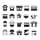 Vectors круг продовольственного магазина черный на белой предпосылке Стоковая Фотография