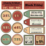 Vectors black friday sale set Stock Images