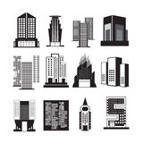 Vectors  building black set on white background Royalty Free Stock Photography