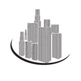Vectors building black and white on white back ground Royalty Free Stock Image