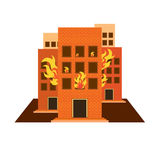 Vectors building fire colour and white on white back ground Royalty Free Stock Photo