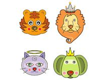 Vectors cute animals face 01 Royalty Free Stock Images