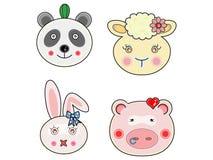 Vectors cute animals face 02 Stock Photo