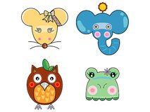 Vectors cute animals face 04 Royalty Free Stock Photo