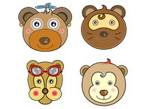 Vectors cute animals face 05 Royalty Free Stock Photos