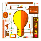 Vectors element and electric light bulb Stock Images