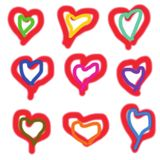 Vectors of hearts for the Mothers Day, Valentines Day. royalty free stock image