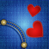 Vectors jeans background with two red heart Royalty Free Stock Images